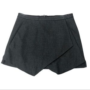 Zara Basic Gray Herringbone Faux Wrap Mini Skirt